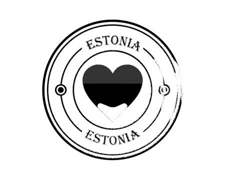 round blurred estonia stamp with lettering in black on white background
