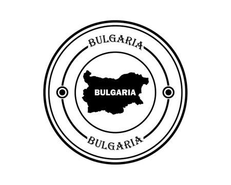 round seal with the inscription Bulgaria in black tone on a white background