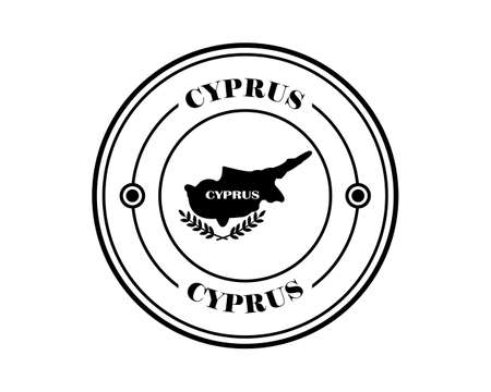 cyprus round stamp with inscription in black on white background Illustration