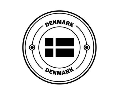 DENMARK round stamp with inscription in black on white background