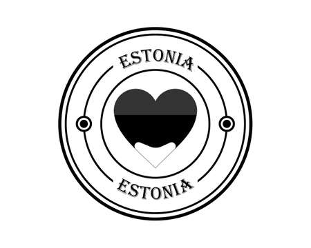 estonia round stamp with inscription in black on white background