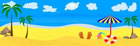 beach with sand palm trees sun stones umbrella sky ball and lifebuoy