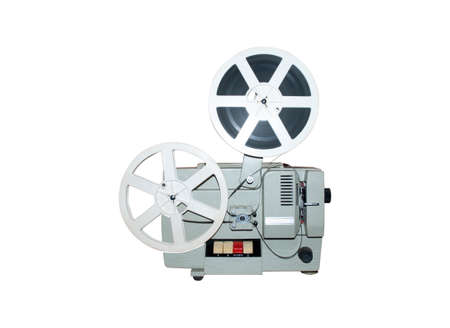 old movie projector and bobbins on a white background Standard-Bild