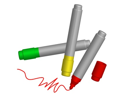 three colored: three colored markers on white background Illustration