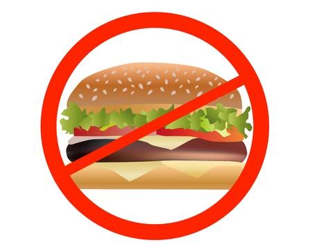 흰색 배경에 샌드위치를 금지 일러스트
