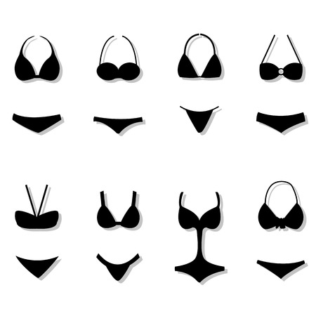 camisole: vector silhouettes types of swimsuits on a white background with gray shadow