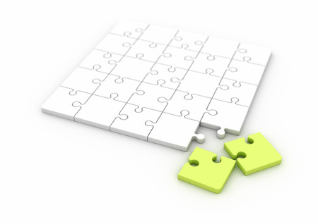 Multiple solutions green jigsaw puzzle on white background
