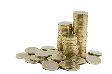 gelt: coins on white background Stock Photo
