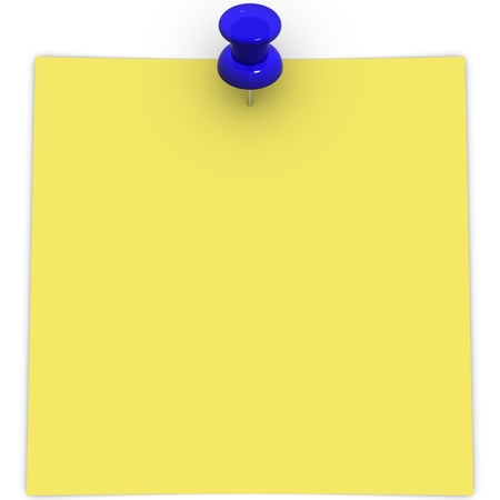 adhesive  note: yellow adhesive note with blue thumbtack