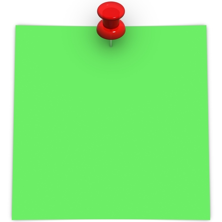 adhesive  note: green adhesive note with red thumbtack Stock Photo