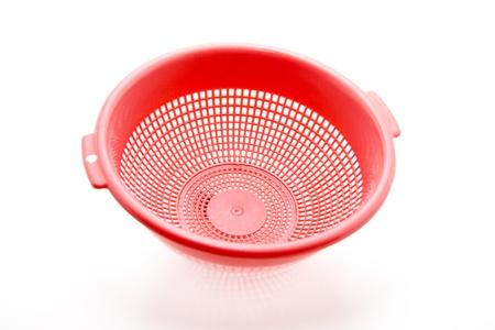 sieve: Red sieve Stock Photo