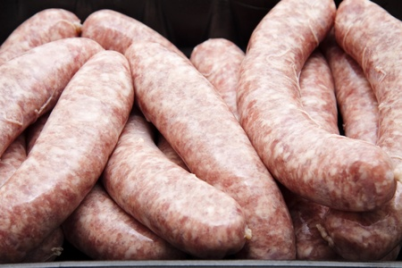 Fried sausage in the packaging Stock Photo