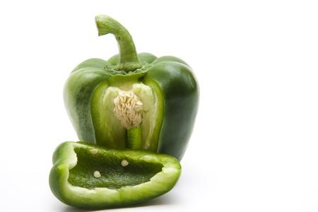 sharply: Green paprika on cut Stock Photo
