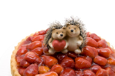 Strawberry cakes with hedgehog pair