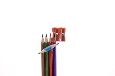 Coloured pencils with sharpener