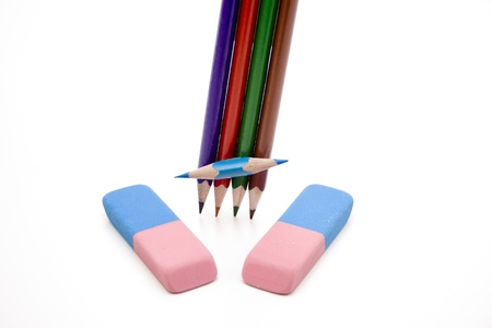 Coloured pencils with rubber