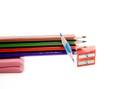 Coloured pencils with rubber and sharpener