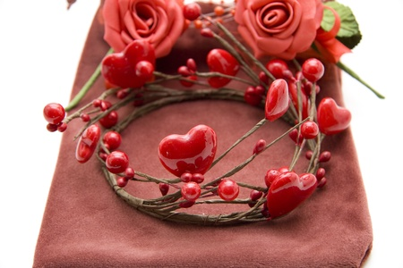 Red rose and wreath with dear symbol photo