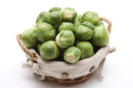 brussels sprouts: Brussels sprouts in the basket Stock Photo