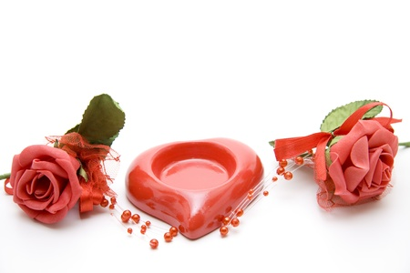 Ceramics heart with roses photo