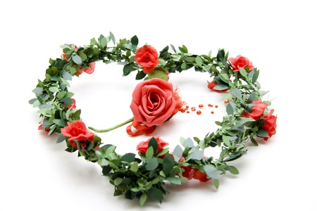 Red rose in the wreath photo