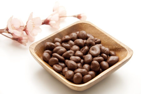 nibble: Raisins chocolate in the bowl