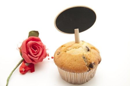 blosom: Muffin with rose Stock Photo