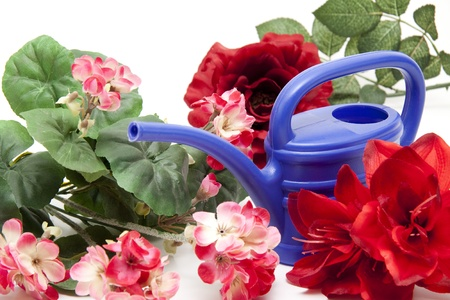 watering can: Blue watering can