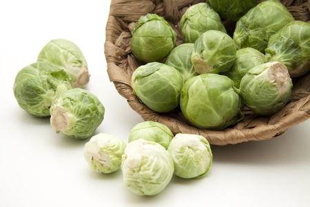 Brussels sprouts in the basket Stock Photo