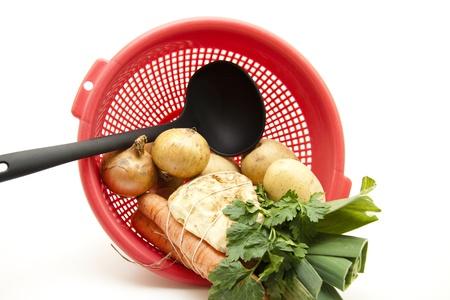 soup spoon: Zuppa cucchiaio e zuppa di verdure Archivio Fotografico