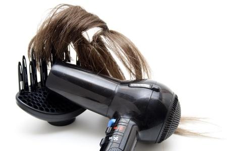 hair drier: Hair hair drier and hair Stock Photo
