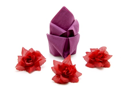 artificially: Napkin with roses Stock Photo