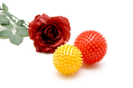 stretchy: Massage ball with red rose