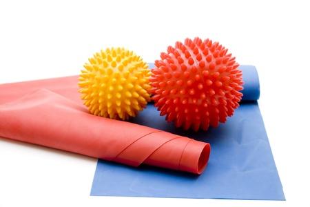 stretchy: Massage ball with gymnastics tape Stock Photo