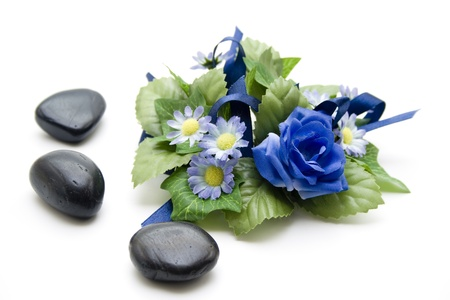 Floral decoration with black stones photo