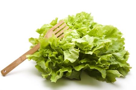 andijvie: Andijvie salade met houten vork