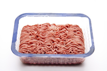 mince:  Raw mince with packaging Stock Photo