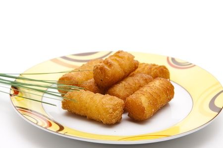 croquettes: Croquettes on a plate Stock Photo