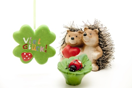 Hedgehog pair with ladybug Stock Photo - 11976557