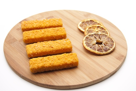 fish rod: Fish rod on a wooden plate
