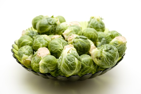Glass bowl with Brussels sprouts