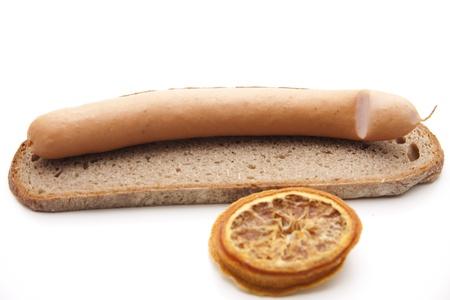 orange peel skin: Frankfurter on rye bread