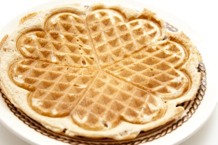 Baked waffle on plate