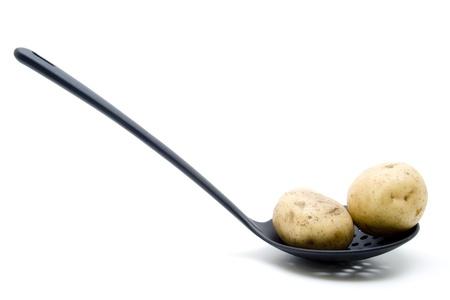 skimmer: Salad potatoes on a skimmer