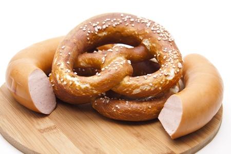 lye: Lye pretzel with pork sausage