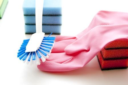 rinsing: Rinsing brush with glove