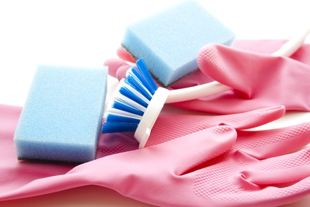 rinsing: Rubber gloves with rinsing brush Stock Photo
