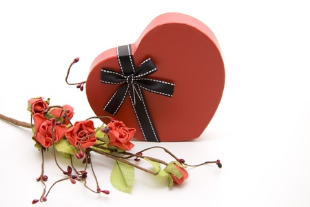Heart box with flower branch Stock Photo - 12078688