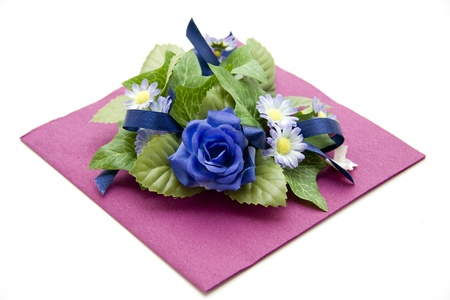 artificially: Napkin with rose Stock Photo
