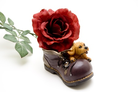 artificially: Stone shoe with flowers